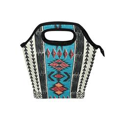 Naanle Tribal Ethnic Aztec Insulated Zipper Lunch Bag Cooler