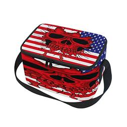 Use4 American Flag Sugar Skull Star Striped Insulated Lunch