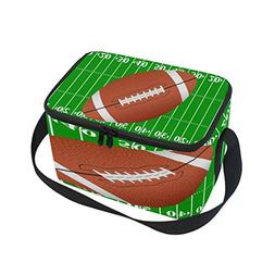 Use4 American Football Green Field Insulated Lunch Bag Tote