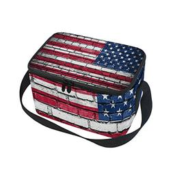 Use4 Brick Wall American Flag Insulated Lunch Bag Tote Bag C