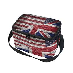 Use4 Brick Wall American Flag Union Jack Insulated Lunch Bag