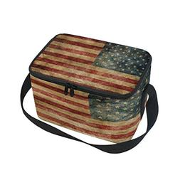 Use4 Star Stripe American Flag Vintage Insulated Lunch Bag T