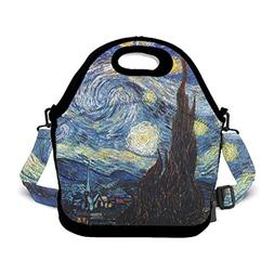 OKAYDECOR Van Gogh Starry Night Lunch Bag Travel Zipper Orga