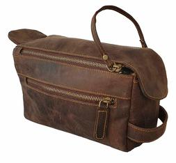 Vintage Leather Canvas Travel Toiletry Bag Shaving Dope Kit
