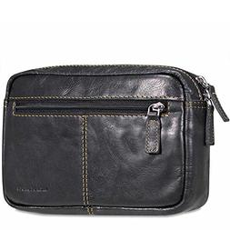 Jack Georges Voyager Belt Bag, Leather Travel Kit in Black