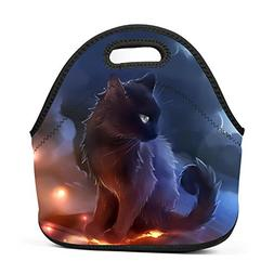 Alxosla Warrior Cats Neoprene Lunch Tote Bag Waterproof Insu