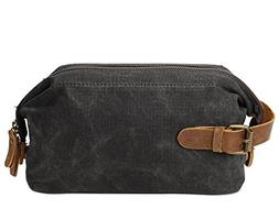 S-ZONE Waxed Canvans Leather Toiletry Organizer Wash Bag Dop