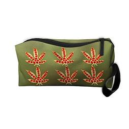Weed Pizza Portable Storage Pouch Travel Makeup Bag Oxford C