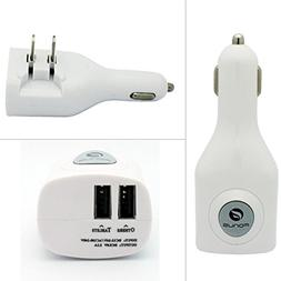 White 2-in-1 Car and Home Wall Travel Charger Adapter Dual U