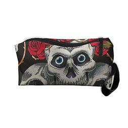 White Skulls Red Roses Makeup Bag Zipper Organizer Case Bag