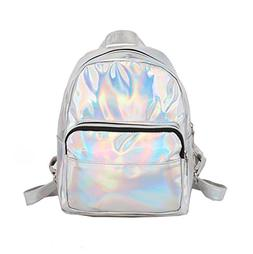 Wonen Sliver Hologram PU Leather Backpack Casual Daypack Sch