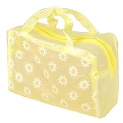 8 Pcs Yellow Floral Transparent Waterproof Travel Pouch Cosm
