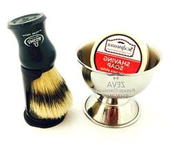 ZEVA Premium Shave Set Omega Shaving Brush With Zeva Shaving